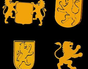 Heraldry Pack Lions for jewelry 3D print model