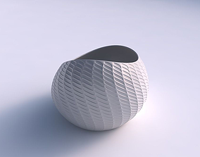 Bowl skewed with diagonal grid dents 3D printable model