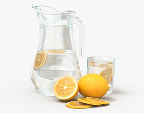 Jar with water and lemon slices 3D model
