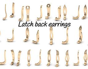 Latch back earrings 3D print model