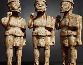 Wooden Soldier Primitive Statue 3D model