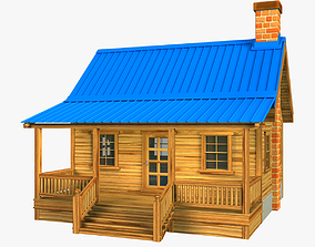 Wooden house V01 3D asset