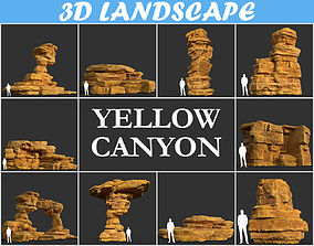 Low poly Yellow Canyon Desert Pack 181127 3D