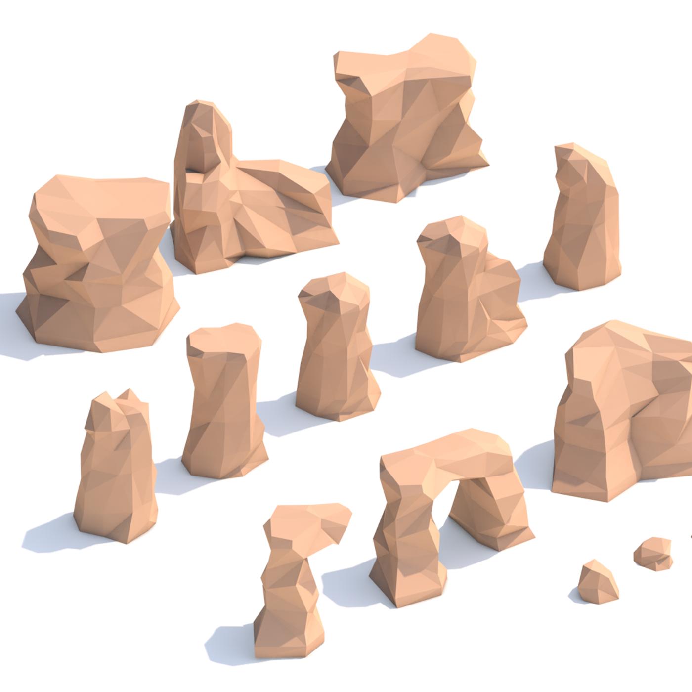 Lowpoly desert rocks - cartoon rock set