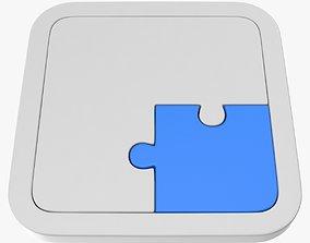 Puzzle 2 Piece 3D asset low-poly