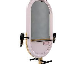 Hairdresser Table mirror pink gold 3D model
