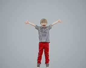 Happy Boy with Red Pants Jumping 3D model