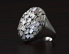 Rough Geometric Chipped Ring STL 3d model for 3d