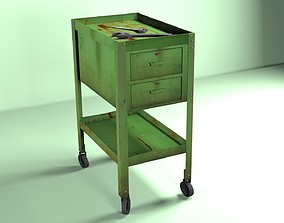 Green Wheeled Tool Cabinet 3D