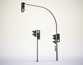 3D model Traffic lights set for pedestrian and vehicles