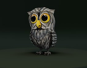 rigged Cartoon Grey Owl Rigged 3D Model