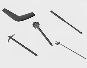 Maces boomerang and pickaxe 3D printable model