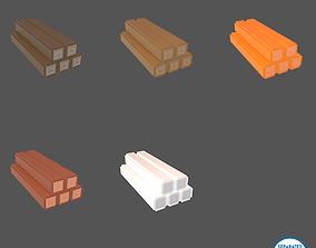3D asset Voxel Wood Log v1 Pack 01
