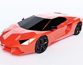 Lamborghini Aventador Low Poly 3D asset