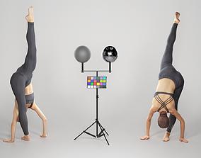 Beautiful woman practising gymnastics 152 3D model
