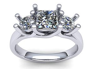 love 3D print model 3 Stone Ring