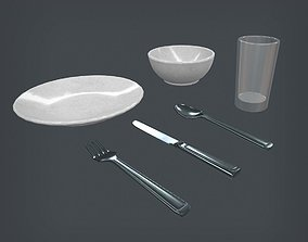 Dining Set 3D model game-ready