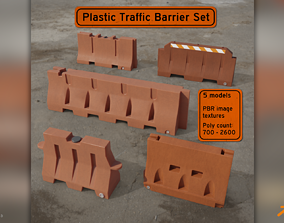 3D Plastic Traffic Barriers Pack