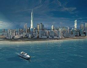 view of a city by the sea An aerial shot of a 3D model