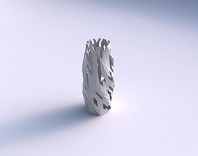 3D printable model Vase twisted hexagon with cuts