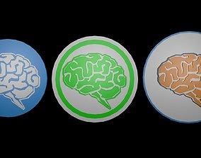 3D model Low poly brain symbol 16