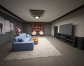 Home theater watching 3D model