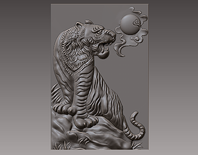 tiger 3D printable model relief