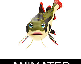 3D asset Red Tail Cat Fish Cartoon Style Animated