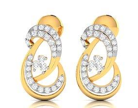 Women earrings 3dm render detail gold silver