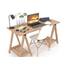 office room Desk set 3D model