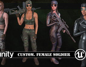 3D model Customizable Female Soldiers Classic and Modern