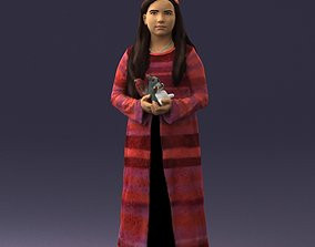 3D model Girl in a dress with a squirrel 0387