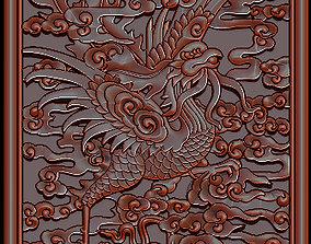 Antique Vietnamese Phoenix Gilt Carved 3D print model 2