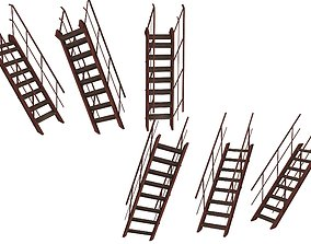 VR / AR ready 2Model Industrial Platforms Stairs 01 Set 1