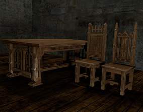 Gothic table and chairs 3D print model 3D asset