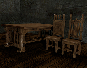 3D printable model Gothic table and chairs