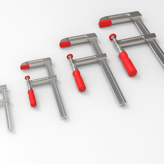 F Clamp Sizes Low-poly 3D model