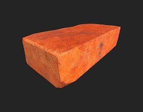 Red brick LOW poly model 3D asset