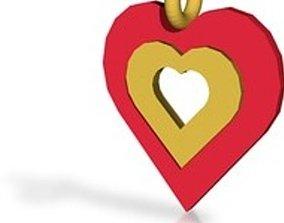 Heart of gold pendant 3D print model