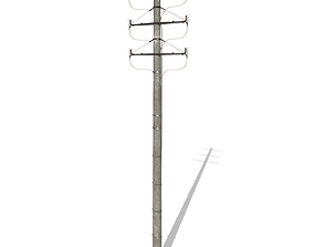 3D model Electricity Pole 1