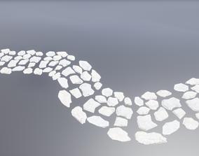 Low poly stone path 3D asset