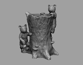 3D printable model Tree Stump Vase with Bears