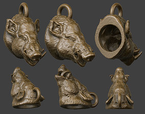 3D printable model boar pendant