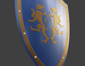 Medieval Two Tiger Emblem Shield Blender 3D printable 3MF