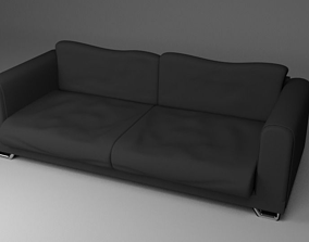3D model Black Fabric Couch Sofa