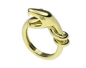 Gold ring snake printable model animal jewelry 3dm stl