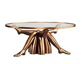 3D model Stylish Golden Coffee Table 102