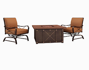 Mahone Fire Pit Seating Group with Cushions 3D model