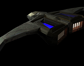 3D model game-ready Low poly scifi super sonic spacecraft