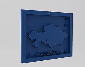 Kazakhstan-Qazakqstan Map 3d Print Model